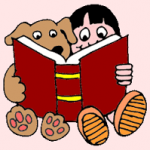 Child and dog reading book