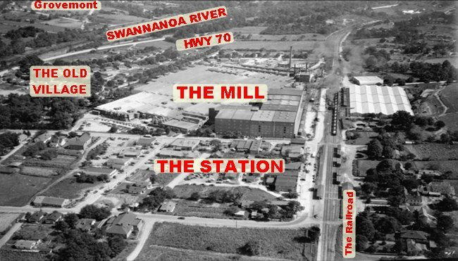 Aerial view of old Beacon Mill, Swannanoa, NC