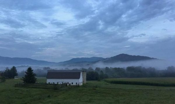 Scene of mist-shrouded mountains taken from Warren Wilson College Road, Swannanoa, NC