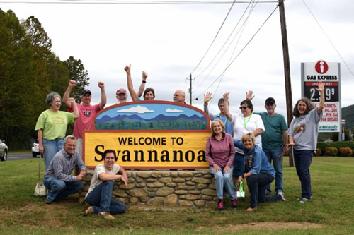 Residents welcome new welcome sign in Swannanoa, NC