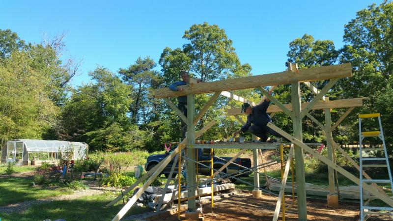 Construction of new pavilion at Swannanoa Community Garden