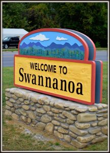 New welcome sign for Swannanoa, NC