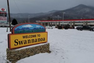 Swannanoa new welcome sign in the snow