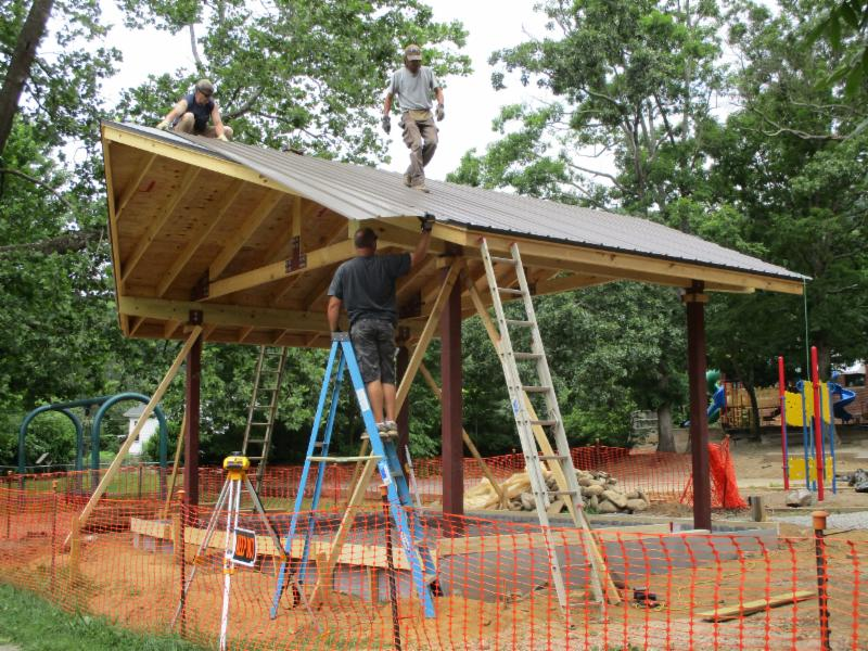 Building pavilion in Grovemont Park, Swannanoa, NC