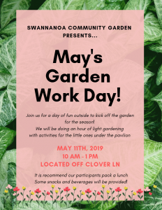 Flyer for Swannanoa Garden Work Day