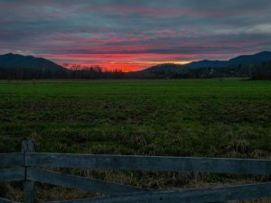 Sunset over mountains in Swannanoa, NC