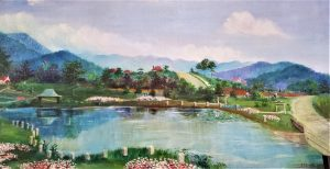 Painting of Lake June in Grovemont Community, NC